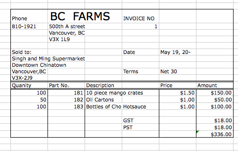 Purchase Invoice Singh And Ming Supermarket